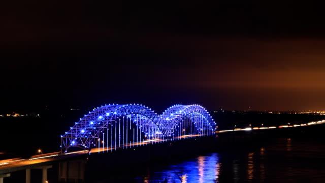 Nacht timelapse van Memphis, de brug van Tennessee video