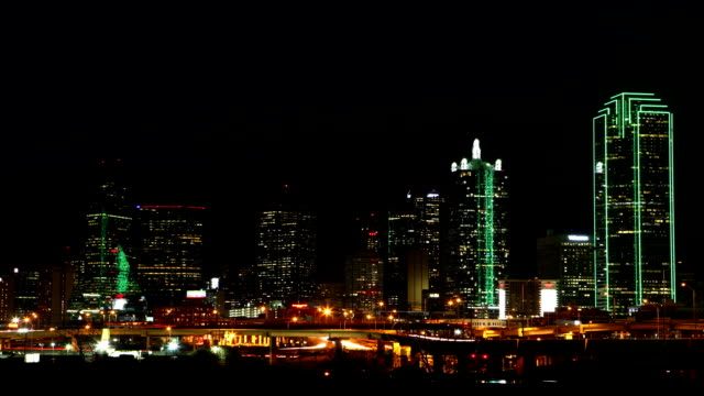 Night timelapse of the Dallas skyline video