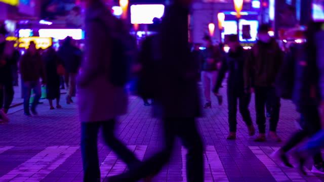 Ein nächtlicher Zeitraffer der Neonstraße in der Innenstadt von Akihabara Tokyo Long Shot – Video