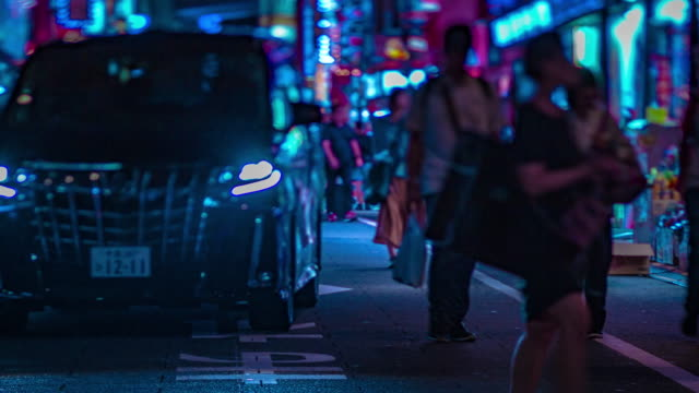 A night timelapse of the neon street at the downtown in Shinjuku Tokyo tiltshift A night timelapse of the neon street at the downtown tiltshift. Shinjuku district Tokyo / Japan - 08.29.2019 alley stock videos & royalty-free footage