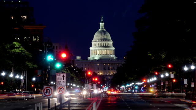 Night Timelapse View of Pennsylvania Avenue Traffic and Capitol Dome