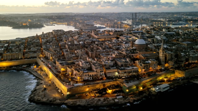 Night to day aerial hyperlapse of Valletta old town, Malta Morning aerial timelapse of Valletta, Malta malta stock videos & royalty-free footage