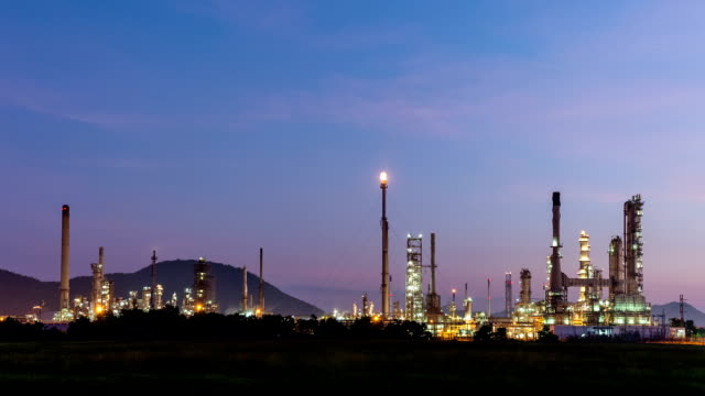 Night to day oil refinery, Time lapse video