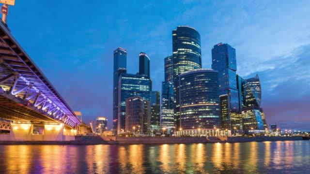 natt till dag tid förfaller i moskva city affärsdistrikt - moskva bildbanksvideor och videomaterial från bakom kulisserna