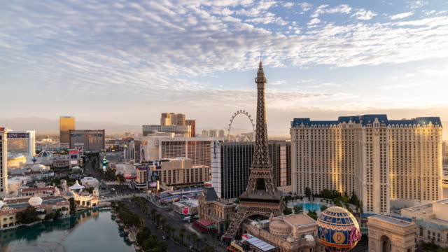 night to day time-lapse aerial view of las vegas strip in nevada usa sunrise dawn - nevada video stock e b–roll