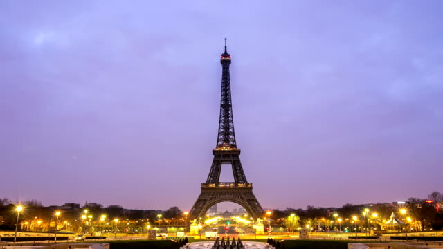 HD Night to Day Timelapse: Eiffel Tower Paris Trocadero Action