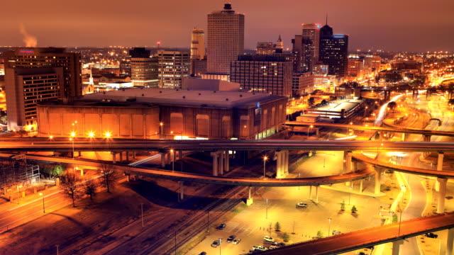 Nacht tot dag timelapse van Memphis, het centrum van de stad van Tennessee video