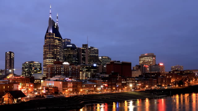 Night to day timelapse of Nashville, Tennessee cityscape and river video