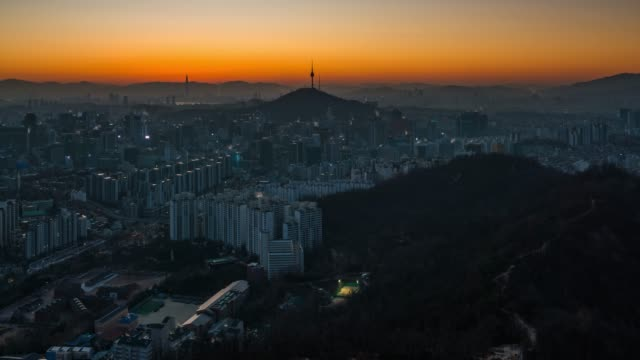 night to day timelapse sunrise scene of seoul downtown city skyline - landmarks stock videos and b-roll footage