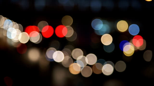 Night traffic bokeh light video