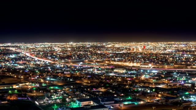 Night Traffic from above of EL Paso and Juarez video