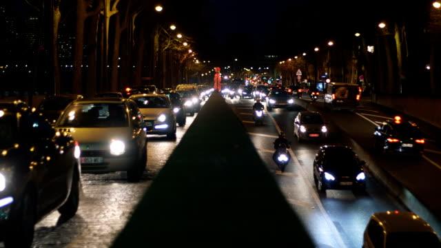 night traffic in paris - paris fashion stock videos & royalty-free footage