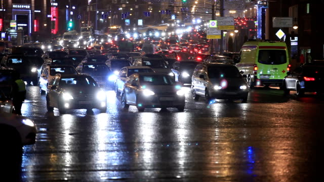 Night traffic in the center of the city. video