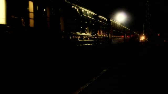Night train starts to move and leaves Night train starts to move and leaves hd intercity stock videos & royalty-free footage