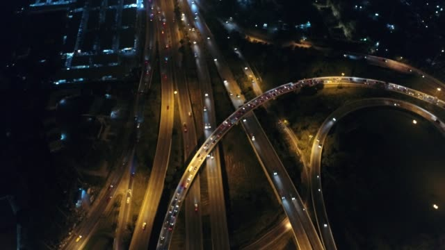 Night transport road aerial view with car light transport Night transport road aerial view with car light transport industry aerial map stock videos & royalty-free footage