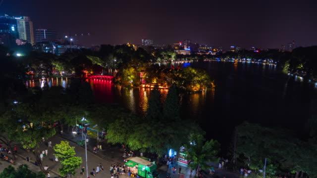 Night View Around Hoan Kiem Lake, Hanoi, Vietnam, Time Lapse Video
