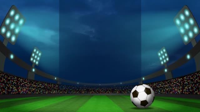 nachtansicht im fußballstadion mit dem ball - sportliga stock-videos und b-roll-filmmaterial