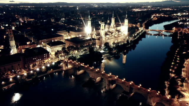 Night view of Cathedral Basilica in Saragossa