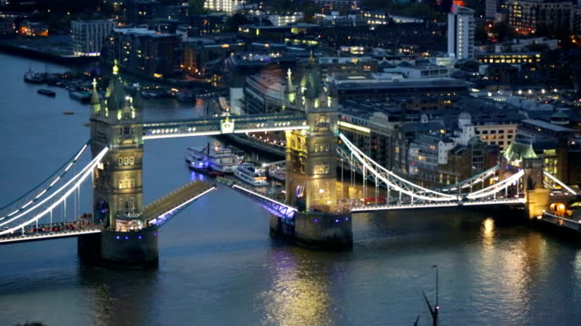 Night view of City of London. Tower Bridge video