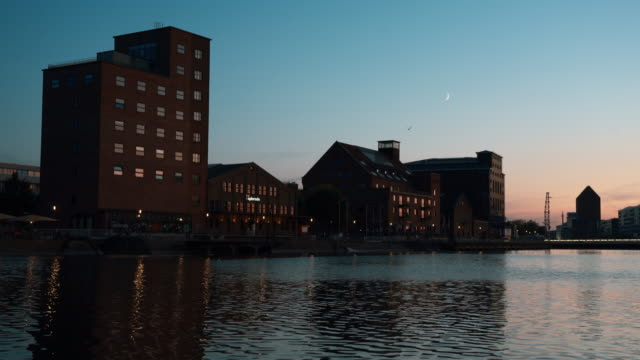 Night view of Duisburg Inner Harbour, Germany