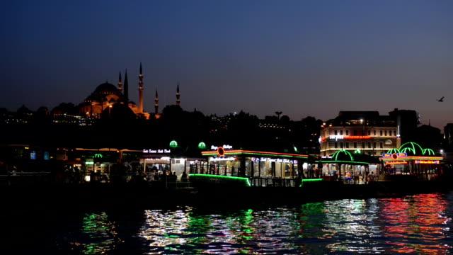 Night view of Eminonu District in Istanbul video