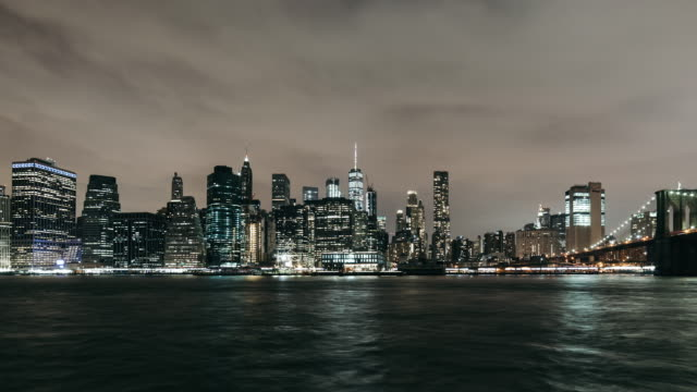 T/L PAN Night View of Manhattan Skyline video