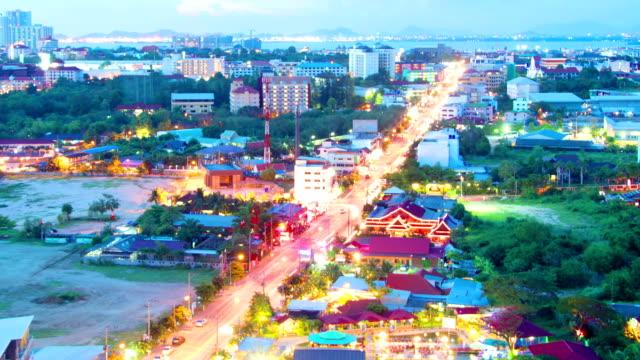 night view of Pattaya city, Thailand timelapse video