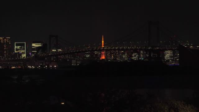 nattvy över rainbow bridge, upplyst av blå (support & tacksamhet till sjukvårdspersonal) förvandlas till röd (tokyo alert) - odaiba kaihin koen bildbanksvideor och videomaterial från bakom kulisserna