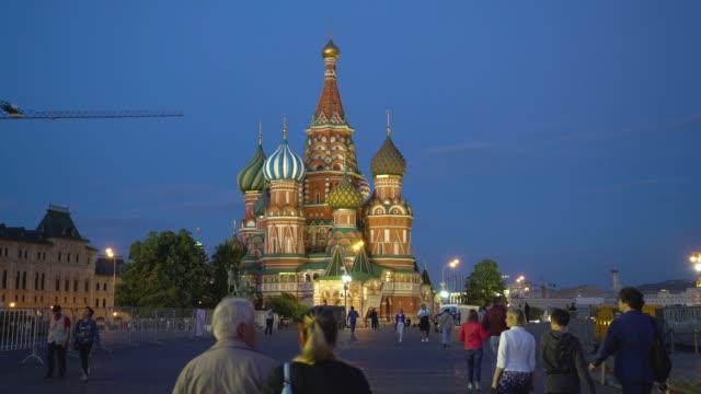nattvisning av katedralen i st. basilika den välsignade - vasilijkatedralen bildbanksvideor och videomaterial från bakom kulisserna