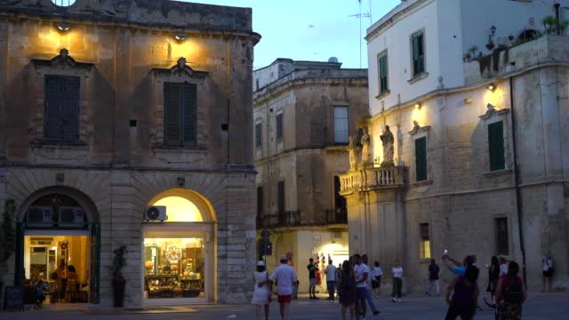 night view of the piazza del duomo - lecce video stock e b–roll