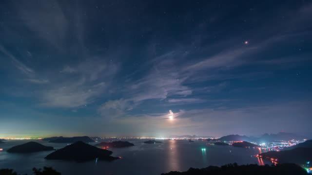 night view of the seto inland sea seen from the famous mountain in mitoyo city, kagawa prefecture - spektakularny krajobraz filmów i materiałów b-roll