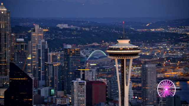 AERIAL Night view of the Space Needle and Seattle