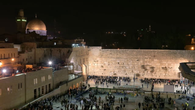 Night view of Western Wall, Jerusalem, Israel. Time lapse. video