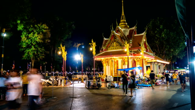 Night Walking Street Market with Illuminated Colorful Shrine, Time lapse video with crane shot video