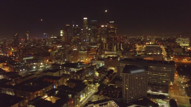 Nighttime Aerial shot of the city of Los Angeles, CA video