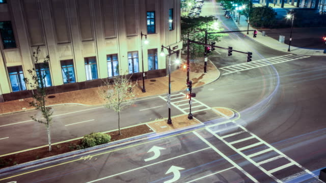 Nighttime Boston Traffic Timelapse at an intersection.  Busy City Motion Downtown. video