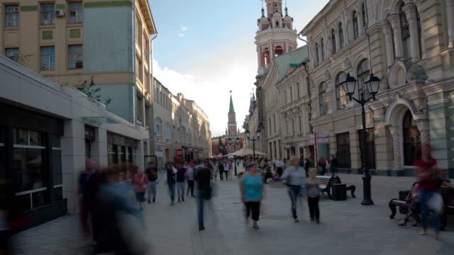 nikolskaya street promenad hyperlapse - moskva bildbanksvideor och videomaterial från bakom kulisserna