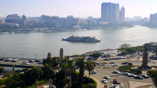 Nile River Timelapse with Traffic Over Bridge video