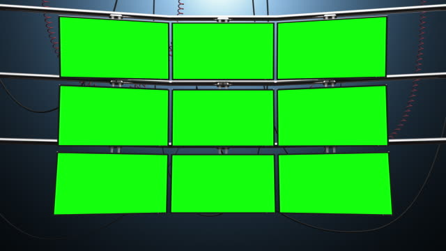 Nine Video Screen Blank Monitors