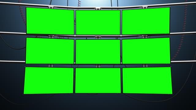 vídeos y material grabado en eventos de stock de nueve monitores en blanco de la pantalla de video - vigilancia