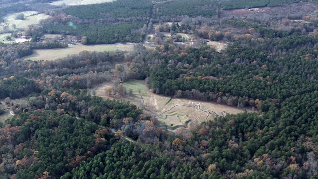 Ninety Six And Star Fort  - Aerial View - South Carolina,  Greenwood County,  United States video