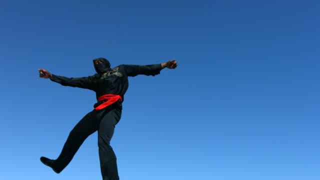 Ninja jumps in air and kicks, slow motion  ninja stock videos & royalty-free footage