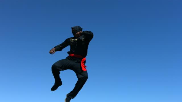 Ninja jumps in air, slow motion  ninja stock videos & royalty-free footage
