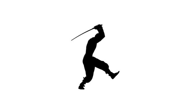 Ninja style. Silhouette of man with sword on white background, silhouette Silhouette of man with sword on white background, martial arts, waving a sword. silhouette, ninja style ninja stock videos & royalty-free footage