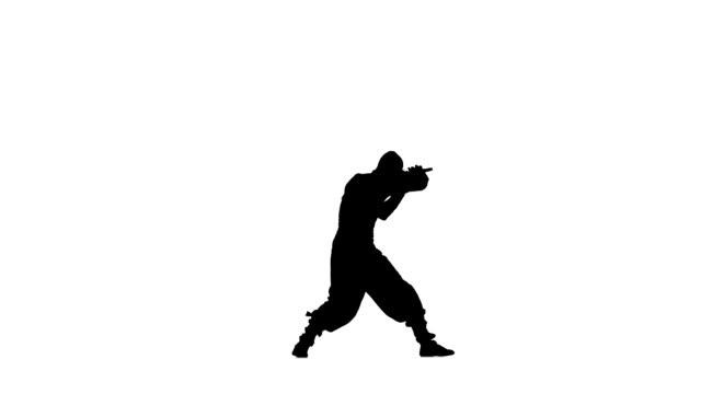 ninja stylei. slhouette of man with sword on white background, silhouette - sword 個影片檔及 b 捲影像
