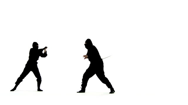 Ninja Swordfight Masked ninjas fight with swords.  Only one of them can be victorious. ninja stock videos & royalty-free footage