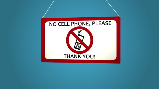 No cell phone sign on white background. Blue background. No cell phone sign on white background. warning sign stock videos & royalty-free footage
