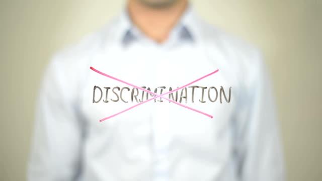 No Discrimination,,  Man writing on transparent screen video