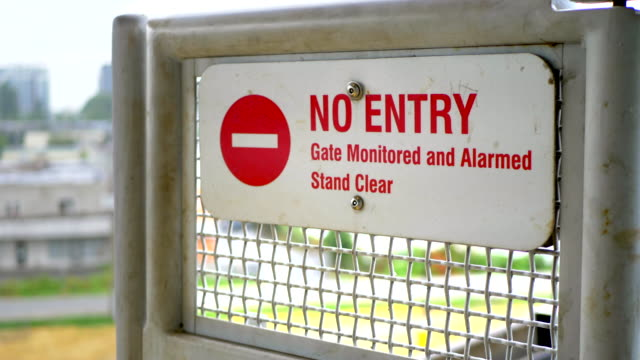 No Entry Gate Sign Barrier, Stop Trespassing Door Message video