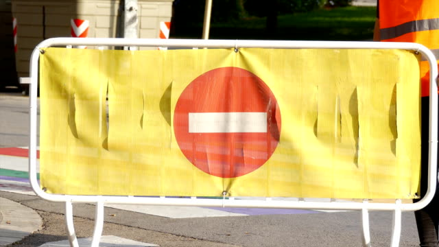 no entry road sign on fence - censura video stock e b–roll